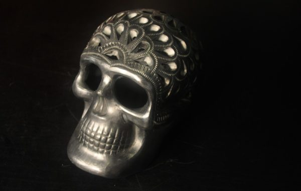 Day of the dead black Mexican skull