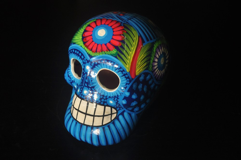 Day of the dead blue Mexican sugar skull