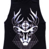 Geometric Mayan Deer Sleeveless Tee Black