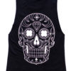 Day of the Dead Mexican Sugar Skull Sleeveless Tee Black
