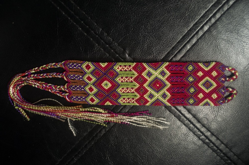 Tribal Mexican hand woven red cuff bracelet / anklet