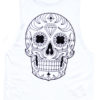 Day of the dead Mexican Sugar Skull Sleeveless Tee White