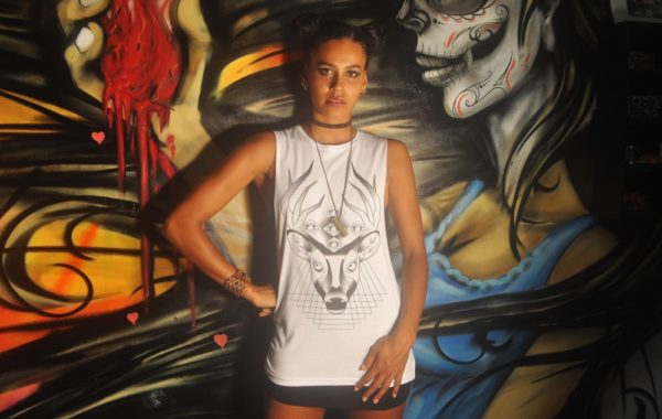 Geometric Mayan Deer Sleeveless Tee White