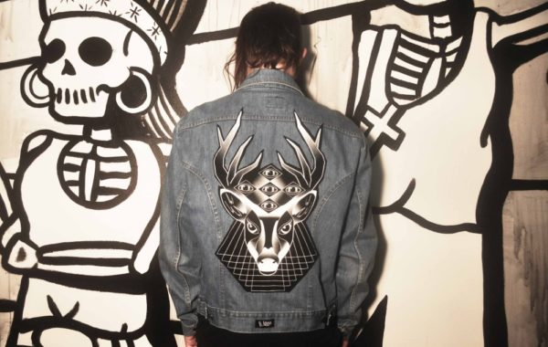 Altered Vintage Denim Jacket with Geometric Mayan Deer Patch