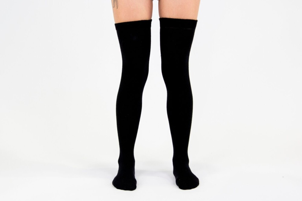 Jet Black High Socks