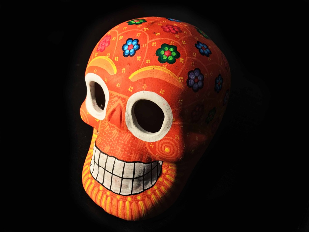 Day of the dead naranja skull
